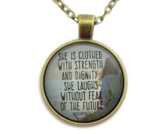 She is Clothed with Strength & Dignity - Necklace - First Communion Gift - Scripture Jewelry: Christian Catholic - Antique Bronze Metal