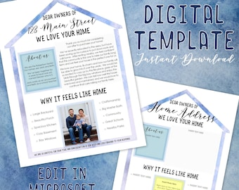 Home Buying Offer Letter - New House Buyer Digital Personalized Note - Customizable & Editable - Word Doc - Custom Printable Template