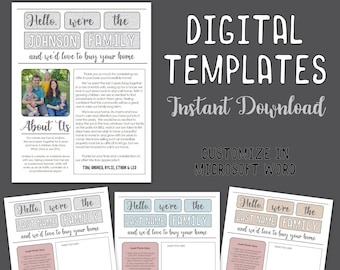 Home Buyer Offer Letter - 3 Digital Templates for New House Buying  - Customizable & Editable - Word Doc - Personalized Printable Letters