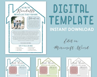 Buying A New Home - 3 Digital Offer Letters - House Buyer Personalized Note - Customizable & Editable - Word Doc - Custom Printable Template