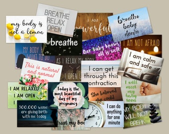 Birth Affirmation Cards 36pk - Printable 4x6s - Digital Download - Labor Visual Birthing Aid - Delivery Pregnancy Quotes - Baby Shower Gift