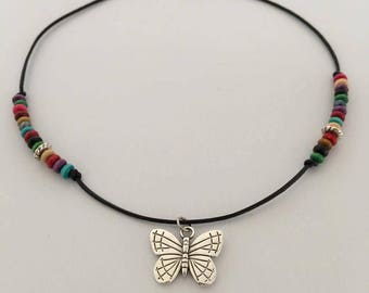 Butterfly Beaded Choker Necklace