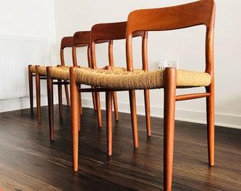 Vintage Retro Mid Century Modern Danish Teak Niels Moller Dining Chairs Model #75 & Mid century modern chair | Etsy
