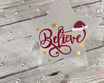 Believe Hanging Christmas Star Decoration