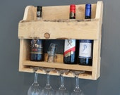 Hand made rustic wooden wine rack