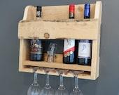 Hand made rustic wooden wine rack