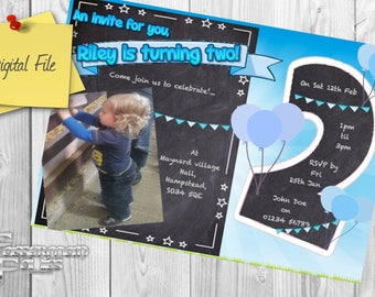 Personalized children's birthday party invite/invitation - Second birthday - boy! (with or without photo)