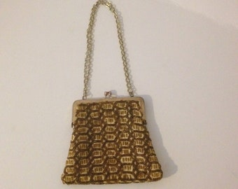Bags, Handbags & Cases Vintage Accessories Antique Art Deco Brown Amber Yellow Bead Fringe Tassel Lined Flapper Purse