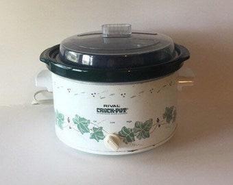 reputable site 6ba61 1cd7f Large 4 Quart Vintage Rival Crock Pot Ivy Leaf Ceramic Stoneware Slow  Cooker Crockpot Lid Serving Dish Electric Model 3154 703