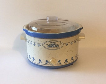 the latest e27cb b6b1c Large 5 Quart Vintage Rival Delft Blue Crock Pot Ceramic Stoneware Slow  Cooker Retro Crockpot Lid Serving Dish Electric Model 3355