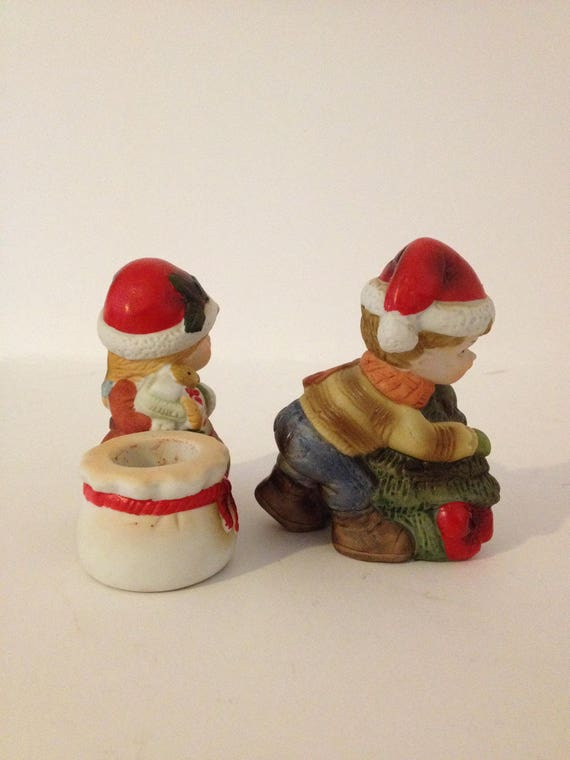 And Mrs Ceramic Bisque Mr Santa Clause Candle Stick Climbers   Ready to Paint