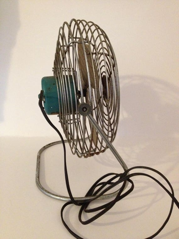 Vintage Antique Emerson Electric Seabreeze Floor Fan Silver Aqua Green Metal Oscilating 4 Blade 12 X 6 Swivel Stand Base Works