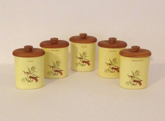 Vintage Yellow Ceramic Spice Seasoning Kitchen Canister Set Wood Lidded Jar  Bird and Floral Design Sage Nutmeg Thyme Cinnamon Cloves