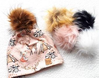 b1f2af7bb6c0 Tuque motif animaux rose, avec pompon de fourrure synthétique amovible,  doublé polar
