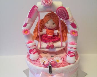 Girls nappy cake, fairy nappy cake, diaper cake, baby shower, centrepiece, nappy cake baby shower gift, baby gift basket, new mum gift,