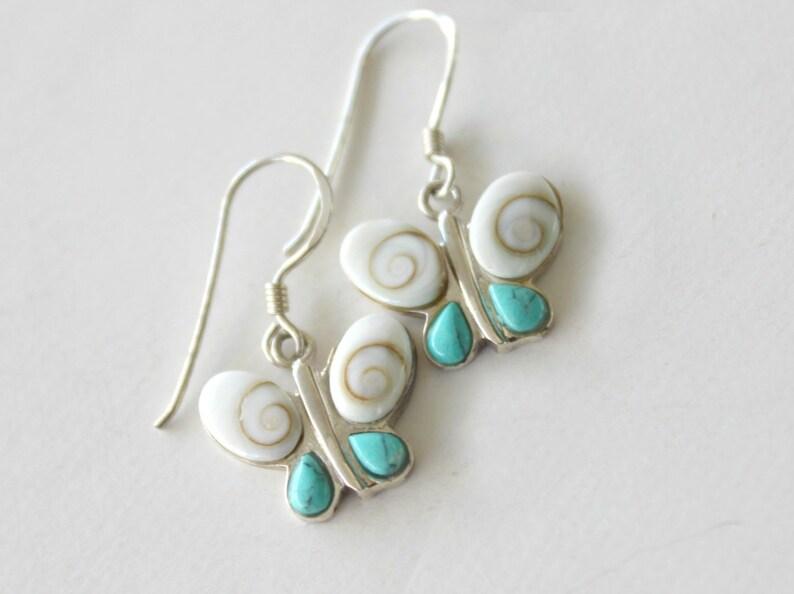 Silver Pendant Necklace Butterfly jewelry Howlite Silver earrings