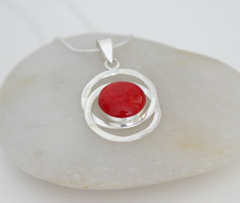 Red Coral Necklace Sterling Silver Charm Red Coral Pendant image 0