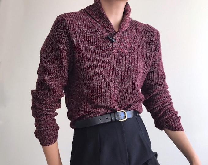 90s Flecked Merlot Sweater