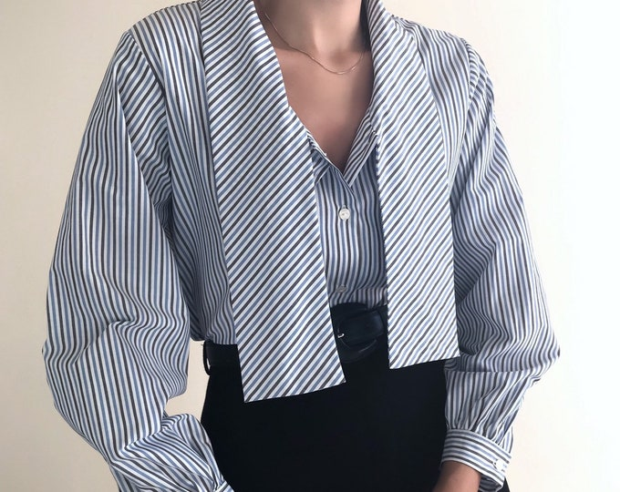 Vintage Tie Collar & Puff Sleeve Shirt