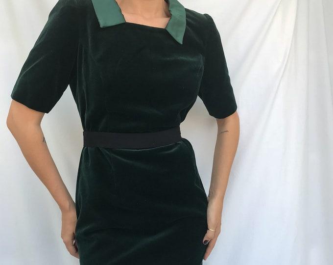 80s Emerald Velvet Dress
