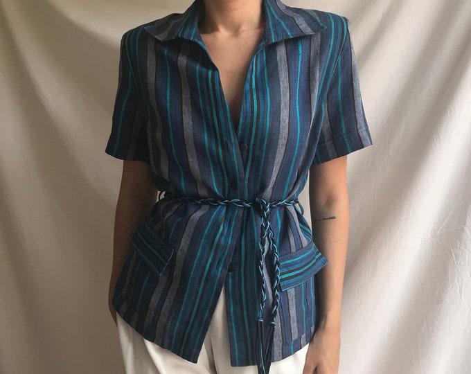 90s Vintage Linen Blue Safari Blazer
