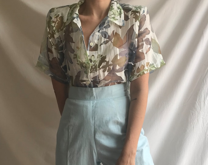 Transparent Floral Button Up