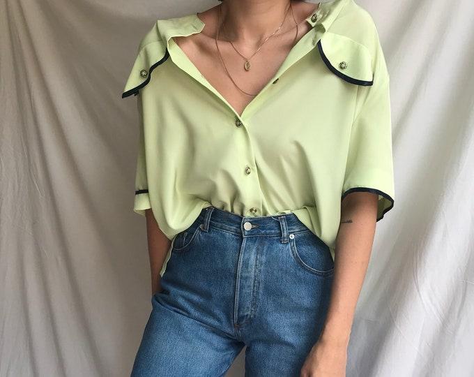 Vintage Chartreuse Oversize Blouse