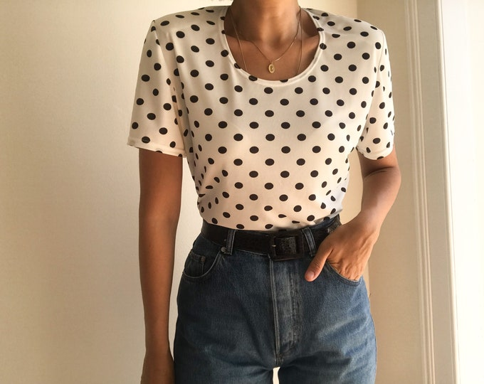 90s Vintage Polka Dot Top