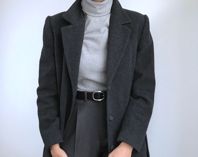 Vintage Gray Long Overcoat