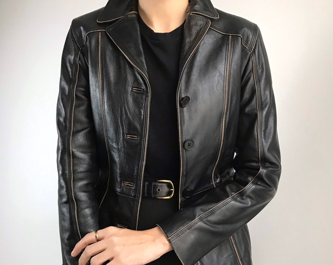 Vintage Contrast Leather Jacket