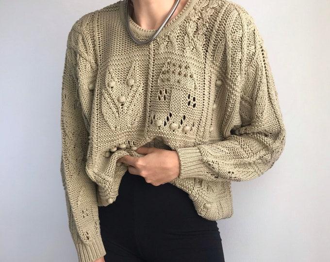 Olive Eyelet Sweater