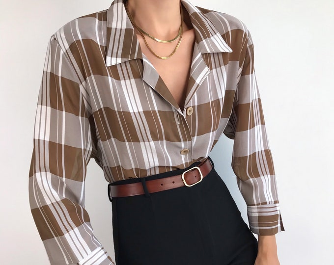 Vintage Notched Blouse
