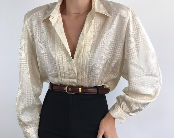 Vintage Satin Pleat Blouse