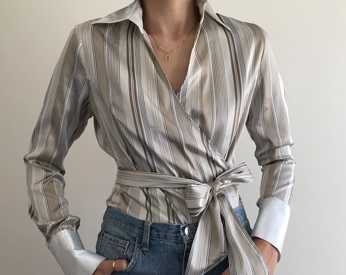 90's Liquid Satin Wrap Blouse