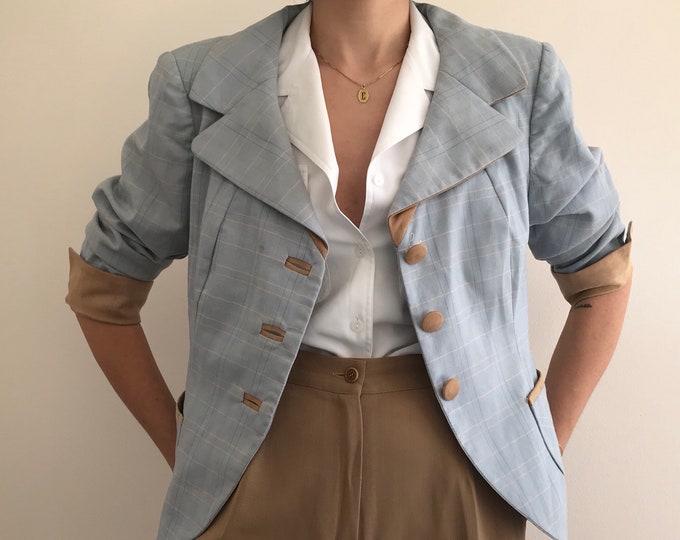 90's Vintage Baby Blue Short Blazer