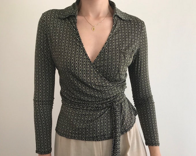 90's Vintage Fluid Wrap Blouse