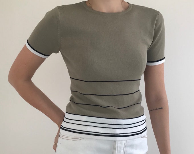 90's Olive Contrast Knit Top