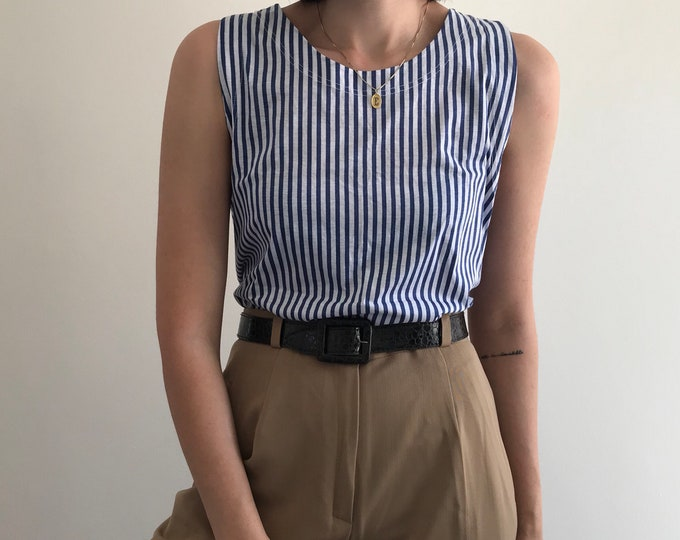 90s Striped Oversize Cotton Top