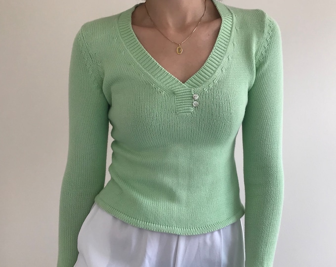 90's Mint V-Neck Spring Sweater