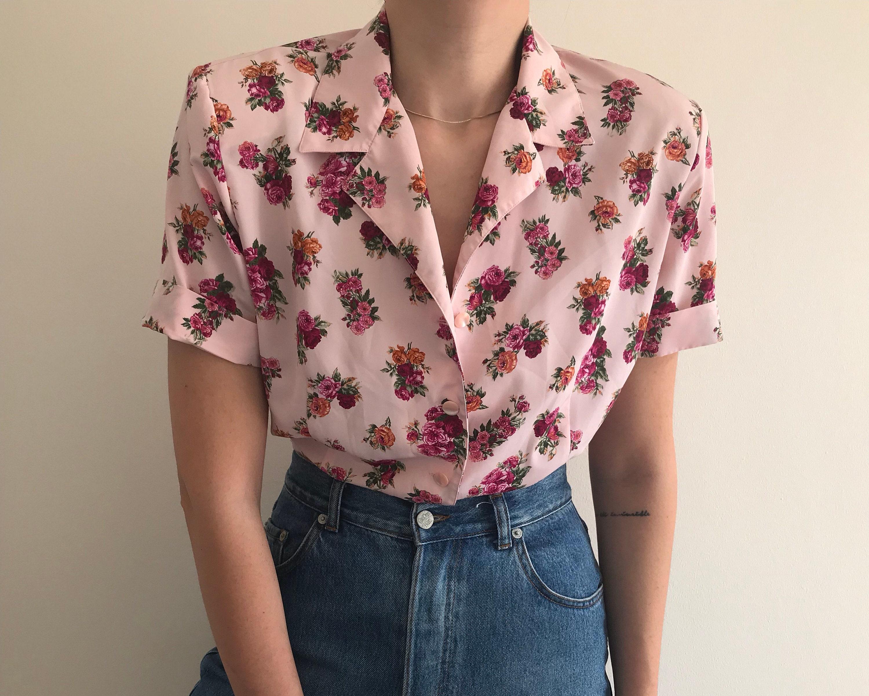 Vintage Pink Flower Blouse