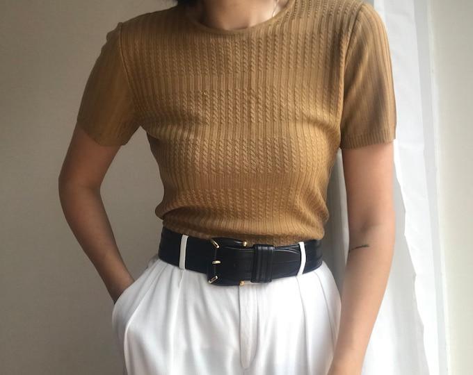 90s Vintage Caramel Knit Top