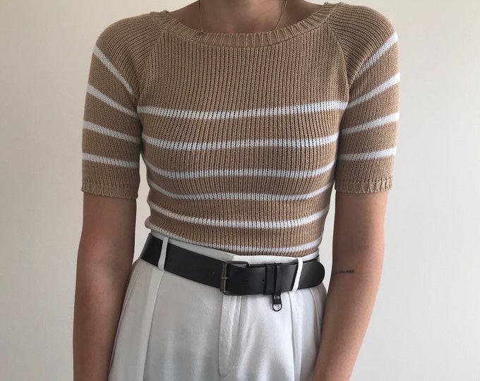 90s Vintage San&White Striped Knit
