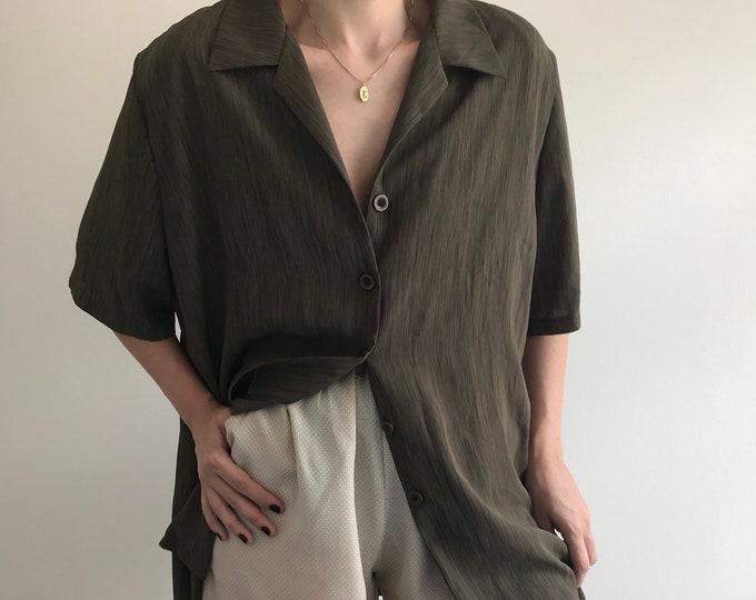 90s Vintage Fluid Shirt Dress