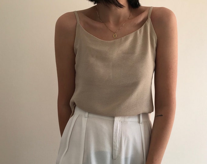 90s Vintage Sand Double Layer Top