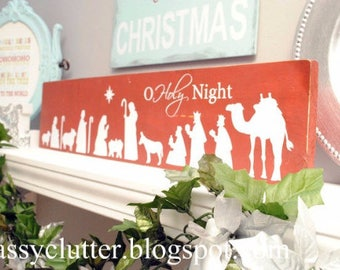 O Holy Night Nativity Christmas Vinyl Decal or All is Calm, All is Bright