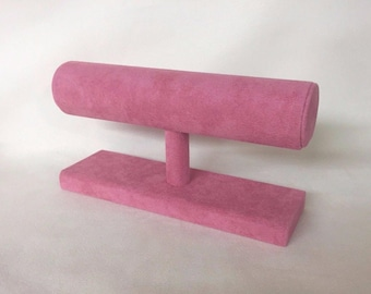 Hand Made Bangle / Bracelet Jewellery Display Stand Orchid Pink Suede