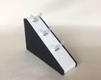 Hand Made Ring Jewellery Display Wedge to Hold 3 Rings Black / Cream