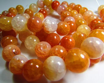 Set of 2 10 mm cracked Agate beads