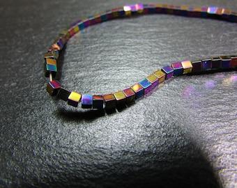 set of 10 Hematite square beads