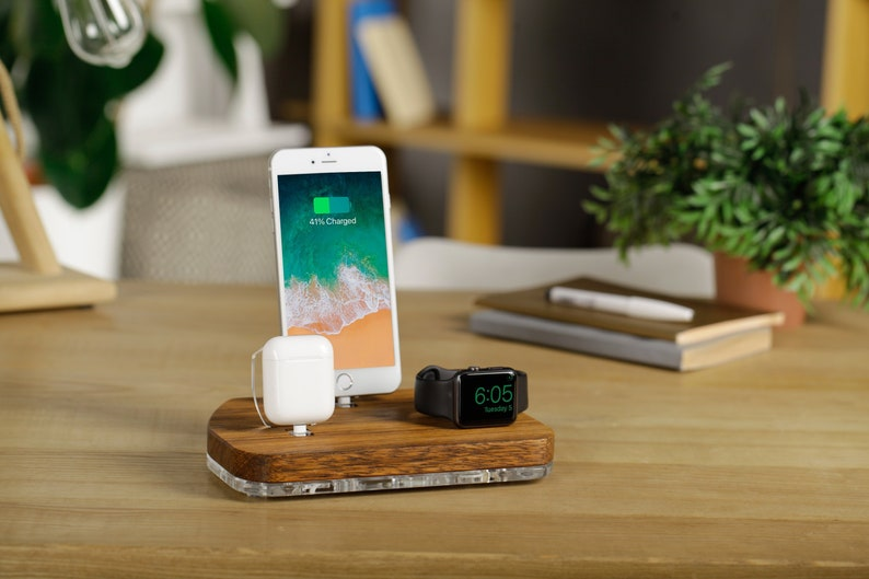 online store 0546b 15cdc Airpods iPhone Charging Station Apple Watch Stand Charging Dock iPhone X  Apple Watch Docking Station IPad Charging Holder Wood Station Gift